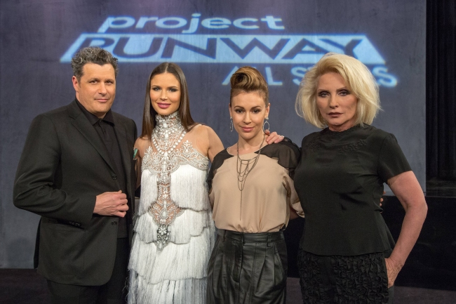 (L to R) Isaac Mizrahi, Georgina Chapman, Alyssa Milano and guest judge Debbie Harry judge Project Runway All Stars season 3, premiering Thursday, October 24, at 9pm ET/PT on Lifetime. Photo by Patrick Eccelsine. Copyright 2013