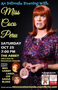 Orlando's own Miss Sammy, Carol Lee & Sasha Blake will make an appearance at Coco's performance at The Abbey.